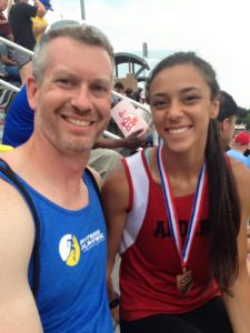 Adam with one of FPC's athletes, Aziza Ayoub from Jonathan Alder, who won the Division 2 800M run this past spring.